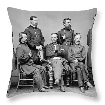 General Sherman And His Staff  Throw Pillow by War Is Hell Store