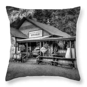General Store Black And White Throw Pillow