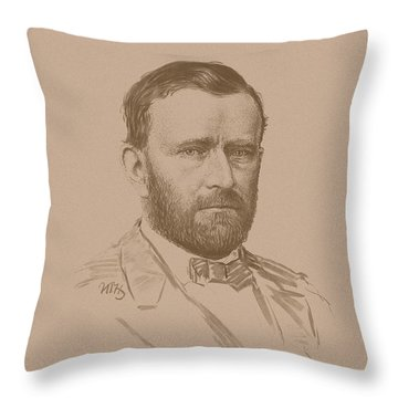 Throw Pillow featuring the mixed media General Ulysses S Grant by War Is Hell Store