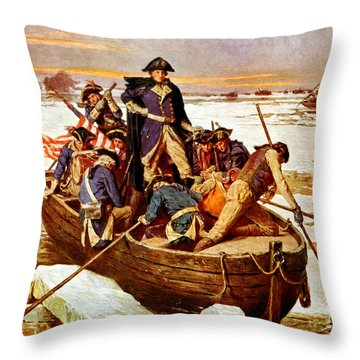 General Washington Crossing The Delaware River Throw Pillow