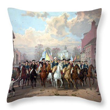 General Washington Enters New York Throw Pillow
