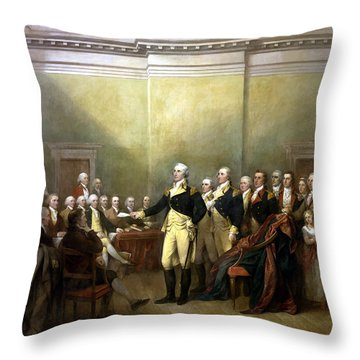 General Washington Resigning His Commission Throw Pillow