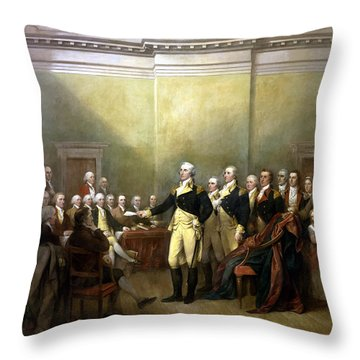 General Washington Resigning His Commission Throw Pillow