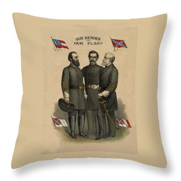 Generals Jackson Beauregard And Lee Throw Pillow