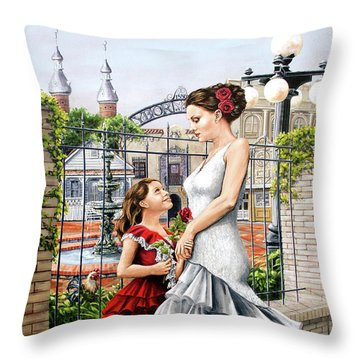 White Flamenco Throw Pillow