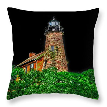 Genesee Lighthouse Throw Pillow by William Norton