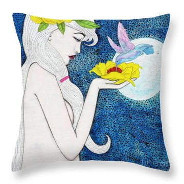 Throw Pillow featuring the mixed media Genesis by Natalie Briney