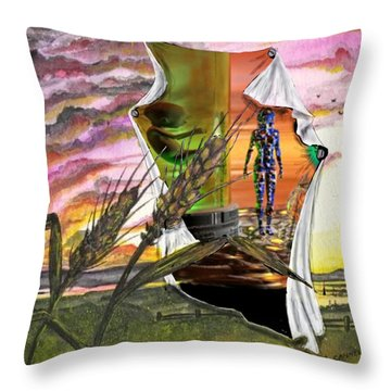 Throw Pillow featuring the digital art Genetically Modified by Darren Cannell