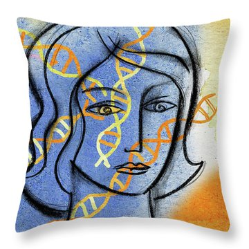 Throw Pillow featuring the painting Genetics by Leon Zernitsky