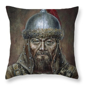 Genhis Khan Throw Pillow by Arturas Slapsys