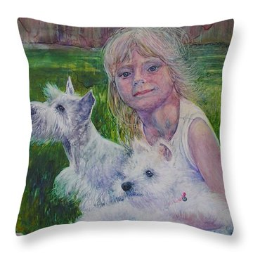 Genna And Friends Throw Pillow
