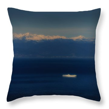 Throw Pillow featuring the photograph Genoa And Savona Coastal Seascape With Ship And Snowy Alps Mountains by Enrico Pelos