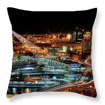 Genoa And The Lighthouse By Night - Genova E La Sua Lanterna  Throw Pillow