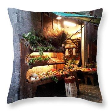 Genoa Produce Market Throw Pillow