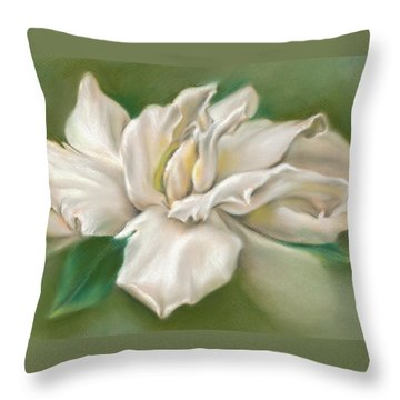 Gentle Gardenia Throw Pillow