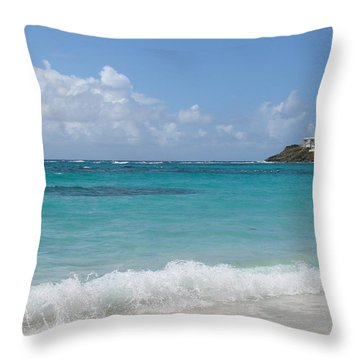 Throw Pillow featuring the photograph Gentle Wave On Dawn Beach by Margaret Bobb
