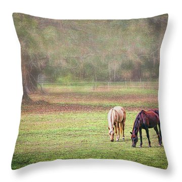 Throw Pillow featuring the photograph Gently Grazing by Lewis Mann