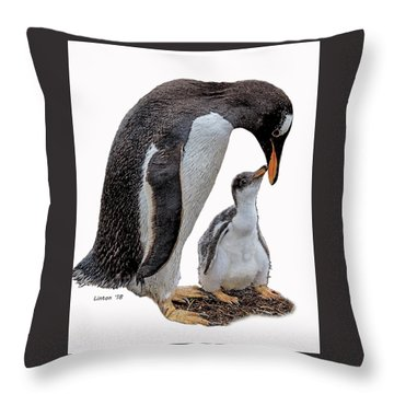 Gentoo Penguins Throw Pillow