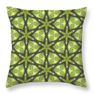 Geo Stars In Greens Throw Pillow