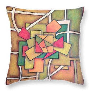 Throw Pillow featuring the painting Geometric 18x18 by Patricia Cleasby