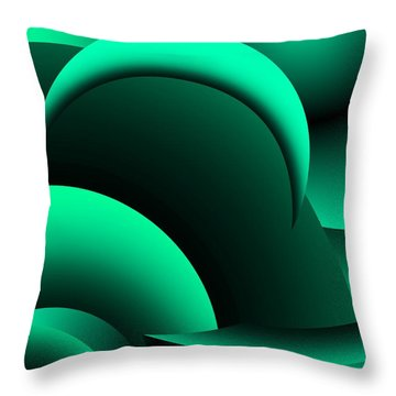 Geometric Abstract In Green Throw Pillow by David Lane