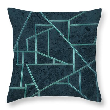 Geometric Abstraction In Blue Throw Pillow