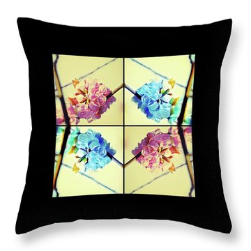 Geometric Cherry Blossoms Throw Pillow