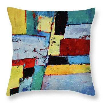 Throw Pillow featuring the painting Geometric Square by Elise Palmigiani