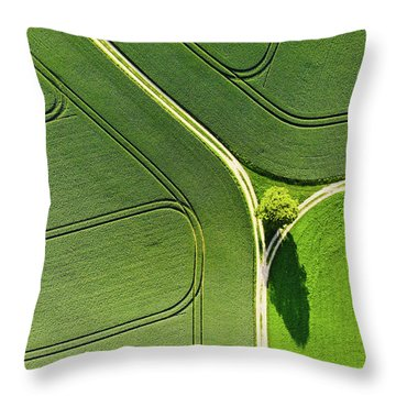 Geometric Landscape 05 Tree And Green Fields Aerial View Throw Pillow