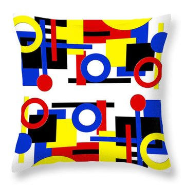 Throw Pillow featuring the digital art Geometric Shapes Abstract V 1 by Andee Design