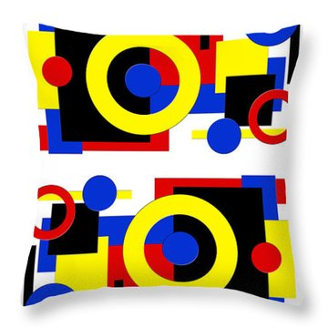 Throw Pillow featuring the digital art Geometric Shapes Abstract V 2 by Andee Design