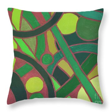 Throw Pillow featuring the painting Geometric Study Green On Copper by Ania M Milo