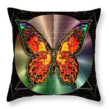 Throw Pillow featuring the digital art Geometron Fyr Lepidoptera by Iowan Stone-Flowers