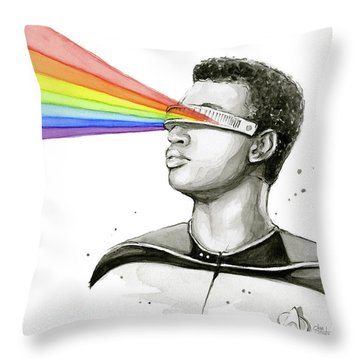 Geordi Sees The Rainbow Throw Pillow by Olga Shvartsur