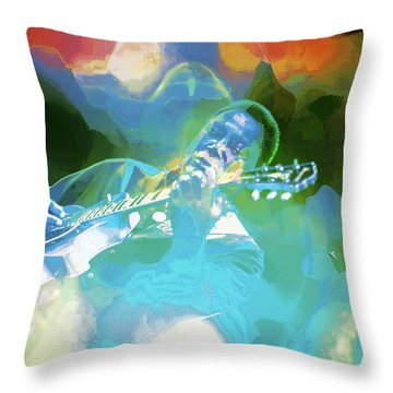 George Benson, Watercolor Throw Pillow