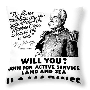 George Dewey - Us Marines Recruiting Throw Pillow