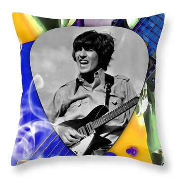 George Harrison Beatles Art Throw Pillow