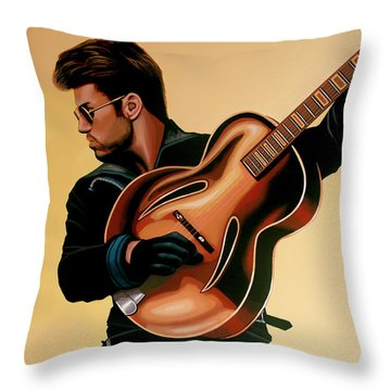 George Michael Painting Throw Pillow by Paul Meijering