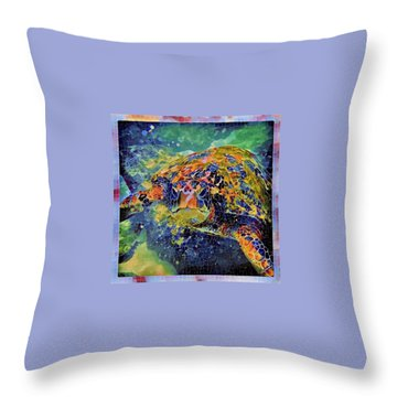 Throw Pillow featuring the painting George The Turtle by Erika Swartzkopf
