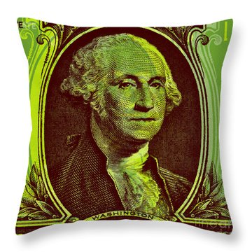 Throw Pillow featuring the digital art George Washington - $1 Bill by Jean luc Comperat