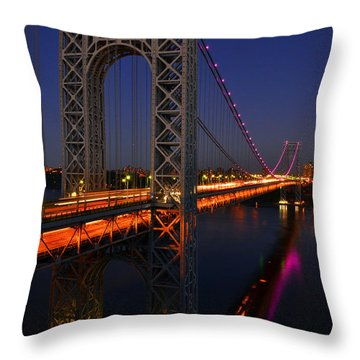 George Washington Bridge At Night Throw Pillow by Zawhaus Photography