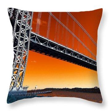 Throw Pillow featuring the photograph George Washington Bridge Pop Art by John Rizzuto