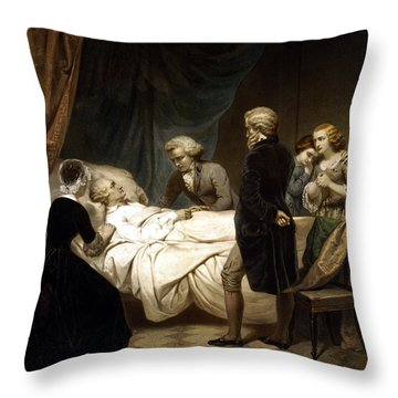 George Washington On His Deathbed Throw Pillow