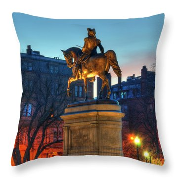 Throw Pillow featuring the photograph George Washington Statue In Boston Public Garden by Joann Vitali