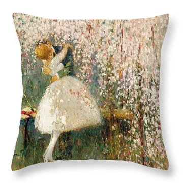 Georges Picard French 1857 1946 Romance Under The Blossom Tree Throw Pillow