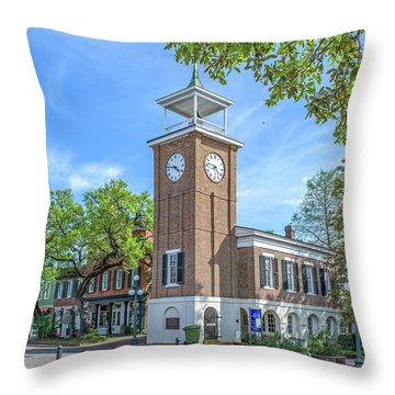 Georgetown Clock Tower Throw Pillow