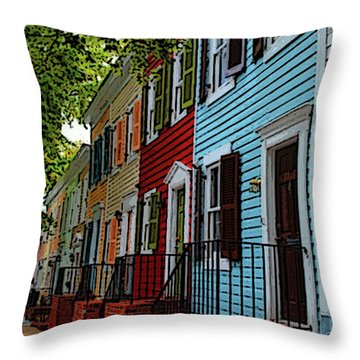 Throw Pillow featuring the photograph Georgetown Shutter Row by Jost Houk