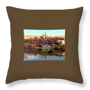 Georgetown University Crew Team Throw Pillow by Charles Shoup