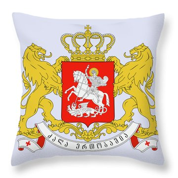 Throw Pillow featuring the drawing Georgia Coat Of Arms by Movie Poster Prints