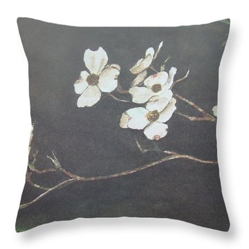Georgia Dogwood Throw Pillow by Charles Roy Smith
